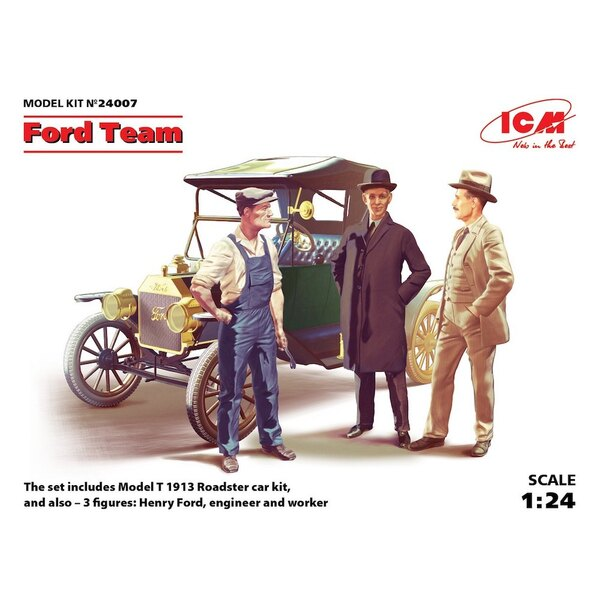 Ford Team (Model T 1913 Roadster car kit and 3 figures) Car kit and Figures of Henry Ford an engineer and a worker NEXT NEW RELE