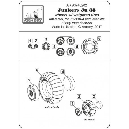 ARMORY ARAW72202 1//72 Junkers Ju88 late wheels with weighted tires