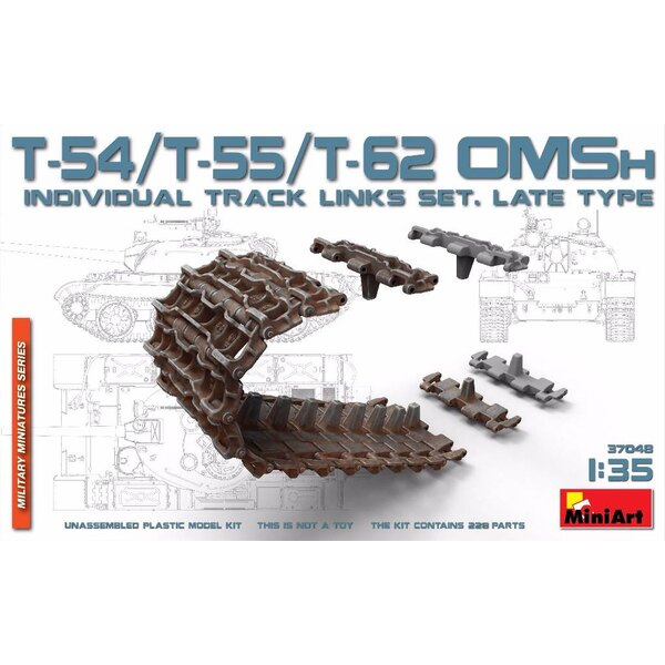 Soviet T-54, T-55, T-62 OMSh individual track links set. Late type (designed to be used with Mini Art kits) DUE SOON!