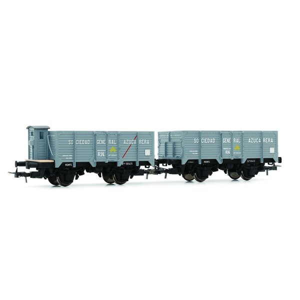 """RN, """"Unified"""", 2-unit set open wagons """"Sociedad General Azucarera"""", empty, one with brakeman's cab, one with brakeman's platform"""