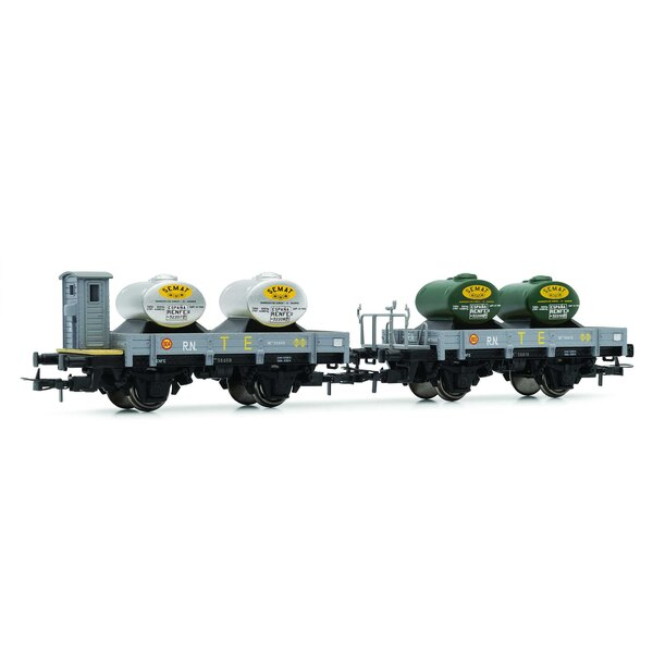 """RN, """"Unified"""", 2-unit set flat wagons, one with brakeman's cab, gray, both with new load (2 tanks """"TE"""")"""