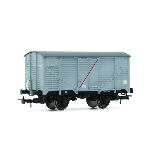 """RN, """"Unified"""", closed wagon, light gray with red transversal stripe """"insulated wagon"""""""