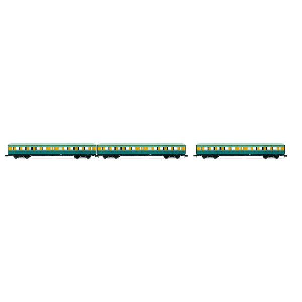 """Set """"S-Bahn Leipzig"""" - 3 coaches without drivers cab, DR, period IV, livery blue / yellow"""