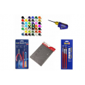 pack with 8 paints, 3 brushes, glue, pliers, cutter and cutting mat