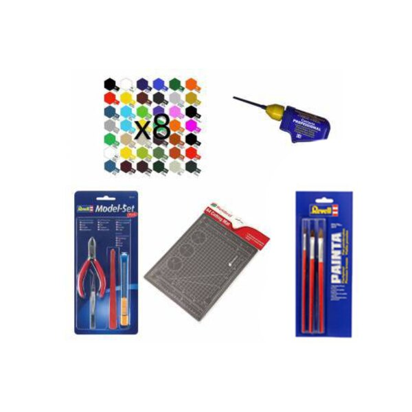 Pack with 8 paints, 3 brushes, glue, pliers, cutter and cutting mat 1001hobbies PACK-ACC-MEGA
