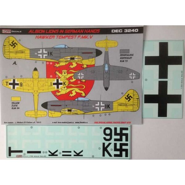 Decals Hawker Tempest Mk.V Luftwaffe 1 decal option for Special Hobby, Pacific Coast Kits