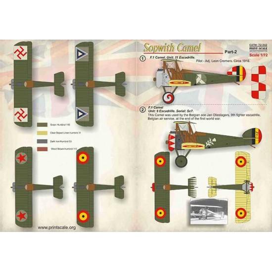 Decals Sopwith Camel Part-2 1  F 1 Camel  Unit: 11 Escadrille  Pilot - Adj   Leon Cremers  Circa 1918 2  F 1 Camel  Unit: 9 Escad
