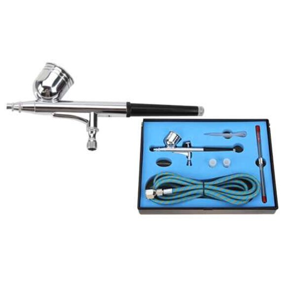 Double action airbrush case by gravity