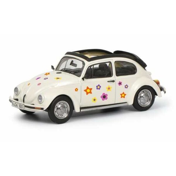VOLKSWAGEN COCCINELLE OPEN ROOF FLORAL DECORATION WHITE