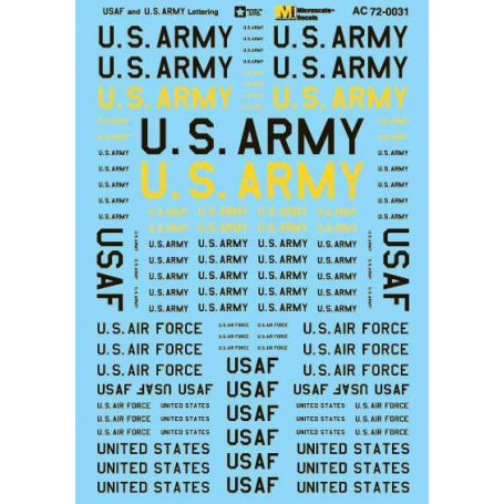 """18/"""" 20/"""" Microscale Decals 1//48 USAF Assorted Stencil Insignia 15/"""" 25/"""" and 30/"""""""