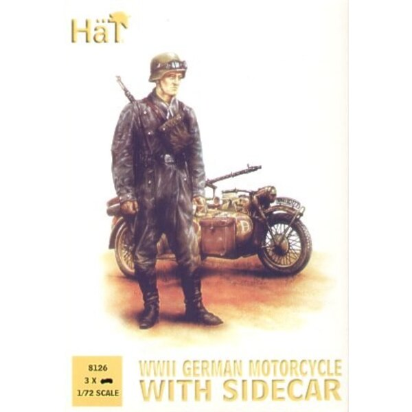 German Motorcycles with side cars WWII. 3 bikes 9 riders and 6 standing figures. (ex HAT99010)