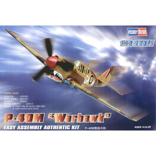 Curtiss P-40M Kittyhawk Easy Build with 1 piece wings and lower fuselage 1 piece fuselage. Other parts as normal. Optional open/