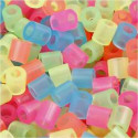 Fuse Beads, size 5x5 mm, hole size 2.5 mm, neon colors, medium, 1100mixed Nabbi CCH-75253