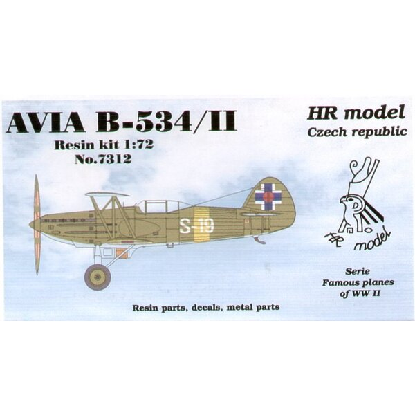 Avia B-534/II with enclosed cockpit. Decals for Slovakia with photo-etched parts.
