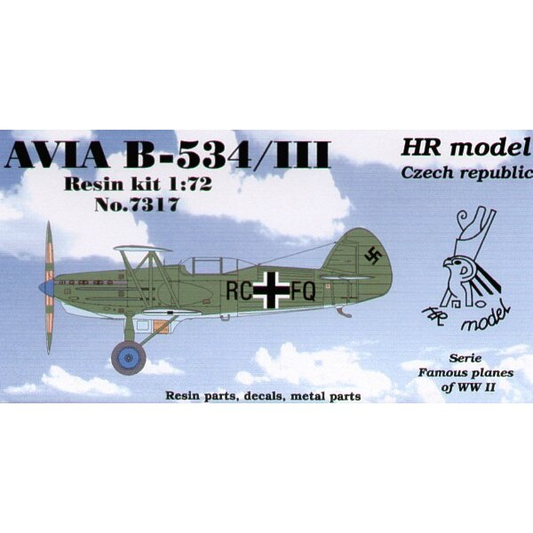 Avia B-534/II with enclosed cockpit. Decals for Luftwaffe with photo-etched parts.