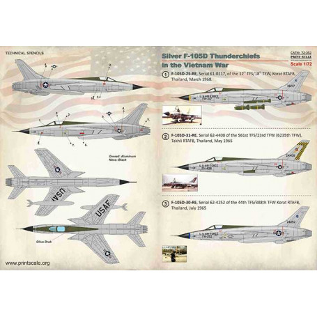 Print Scale Decals 1//72 REPUBLIC F-105 THUNDERCHIEF Silver Aircraft in Vietnam