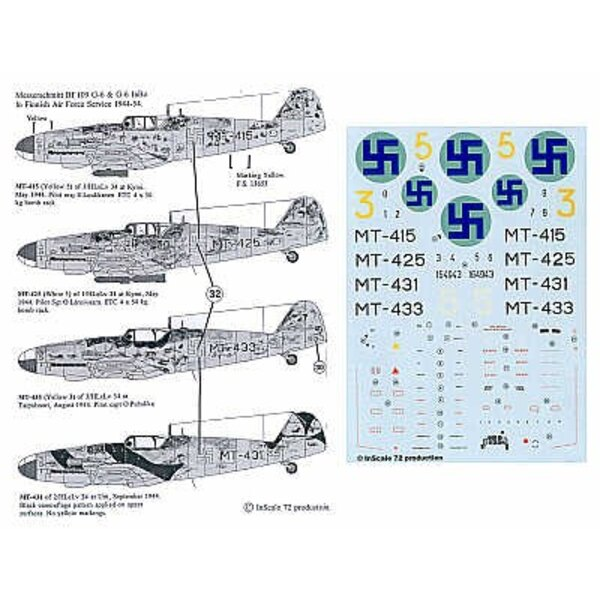 Messerschmitt Bf 109G-6. Serials and markings for 4 aircraft in RLM 74/75/76 Luftwaffe camo rudder numbers swa stika national in