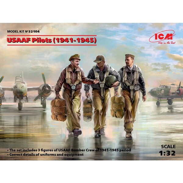 USAAF Pilots (1941-1945) (3 walking figures) (100% new molds)
