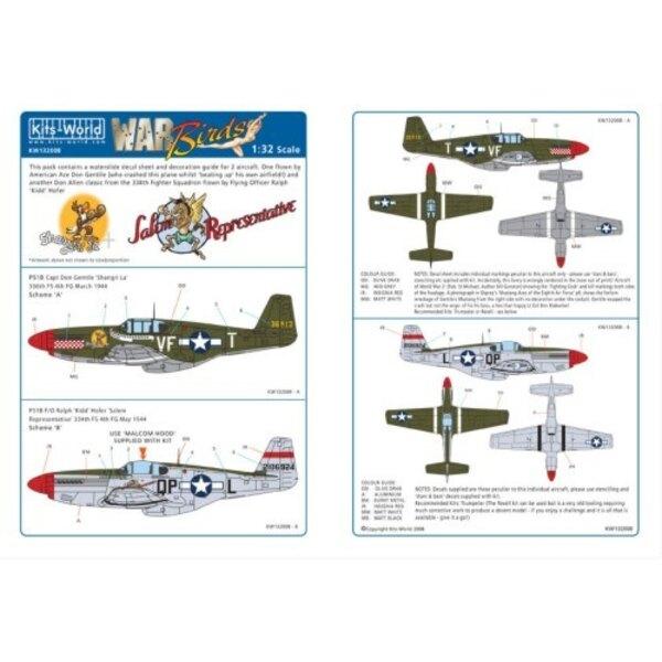 North American P-51B Mustang (2) 36913 VF-T `Shangri La′ Capt Don Gentile 336th FS 4th FG. 2106924 QP-L `Salem Representative′ F
