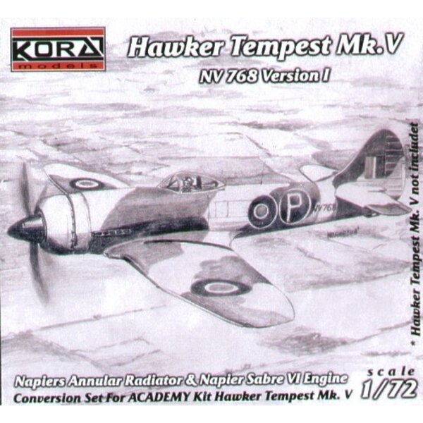 Hawker Tempest Mk.V NV768 Version 1 with Napiers Annular Radiator and Napier Sabre IV engine (designed to be assembled with mode