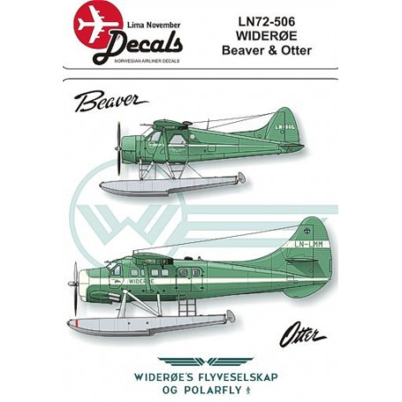 Decals de Havilland Canada DHC-2 Beaver and de Havilland Canada DHC-3 Otter Wideroe. Includes masks for the windows (designed to