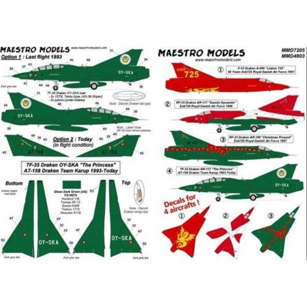 Saab J-35 Draken Danish Air Force four colourful a/c incl. one two-seater. HUGE SHEET! (designed to be assembled with model kits