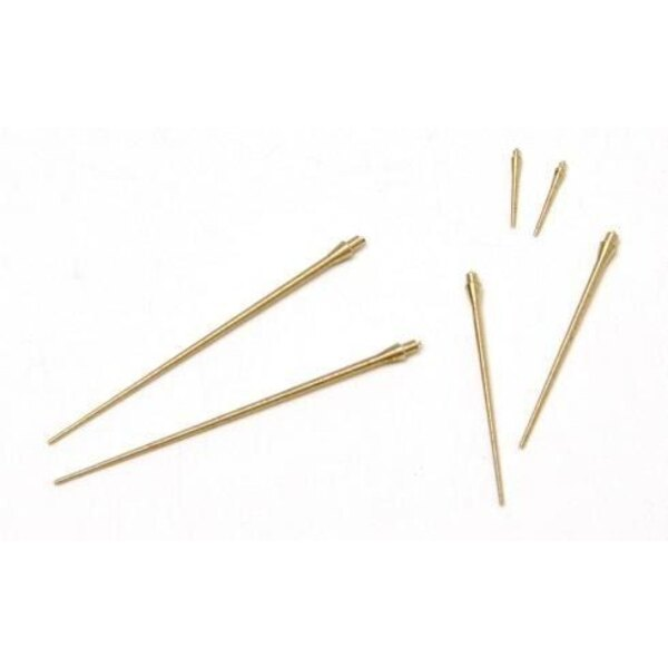 Saab J-35 Draken pitot tubes 3 different 2 sets (turned brass) (designed to be assembled with model kits from Hasegawa)