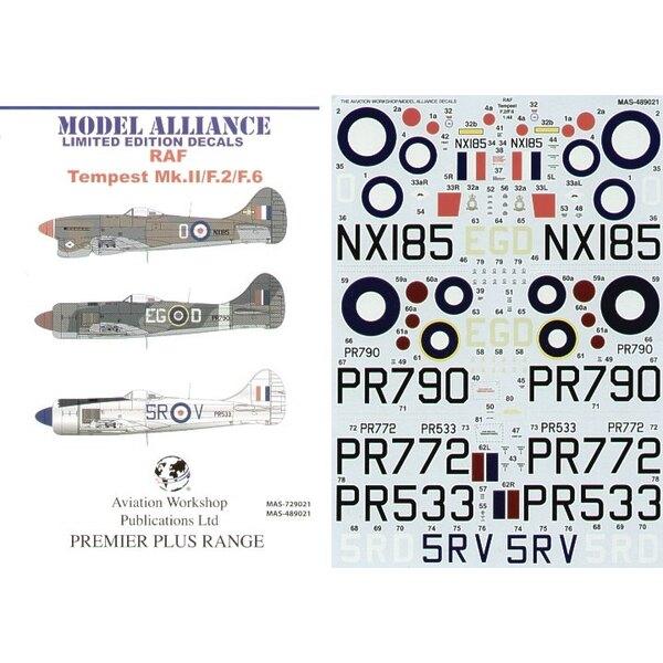 Hawker Tempest Mk.II/F.2/F.6 Post War (4) Mk.II PR790 EG-D 16 Squadron RAF Fasburg Germany 1946 F.2 PR533 5R-V 33 Squadron Overa
