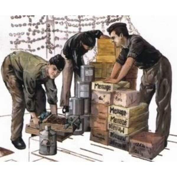 3 x crew figures loading provisions for U-Boat Type VIIc (designed to be assembled with model kits from Revell)