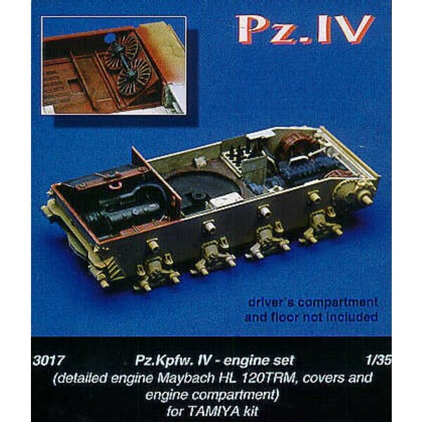 Pz.Kpfw.IV Maybach HL 120TRM engine covers and engine department (designed to be assembled with model kits from Tamiya)