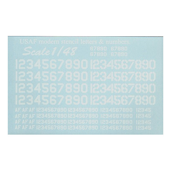 Print Scale USAF Modern Stencil Letters And Numbers - Decal numbers lettersusaf modern stencil lettersnumbers whitedecal
