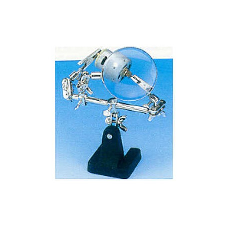 Helping hands with magnifier and 2 x adjustable crocodile clamps