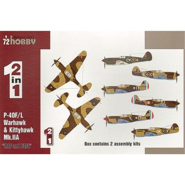Curtiss P-40F/L & Kittyhawk Mk.IIA RAF and FAFL. 2 complete kits in one box. Fighter aircraft P-40Fs powered by Merlin engines w