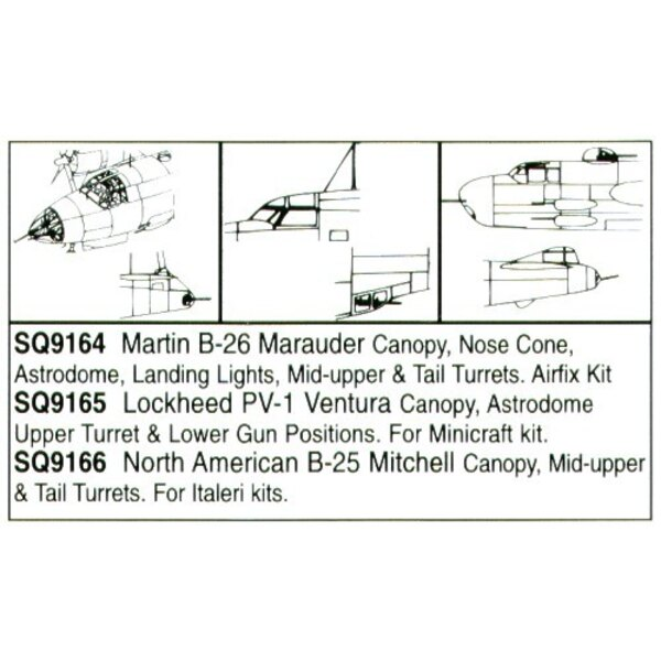 Martin B-26 Marauder Nose Cone/canopy/Turrets/Astrodome (designed to be assembled with model kits from Airfix)