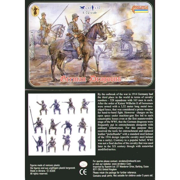 German Dragoons WWI. 12 figures and 12 horses. No duplicates.
