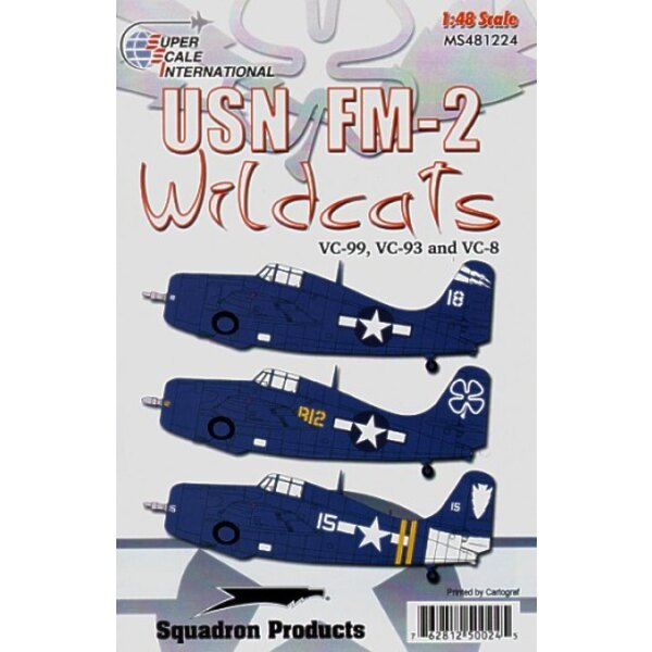FM-2 Wildcats VC-8 VC-93 and VC-99. Decals for 3 overall Sea Blue US Navy FM-2 aircraft: ′White 18′ VC-99 off the USS Hoggatt Ba