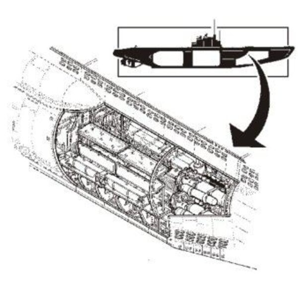 U-Boat Type VIIc interior torpedo section (designed to be assembled with model kits from Revell)