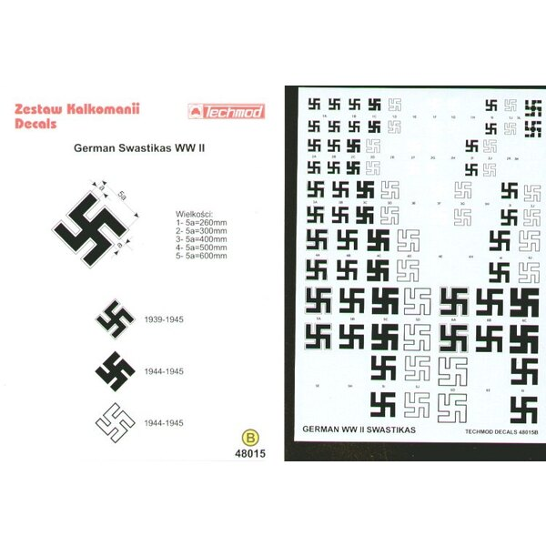 Luftwaffe Swastikas. Five sizes 250 300 400 500 600mm and six styles. See also Xtradecal X01948 for alternative Swastikas.