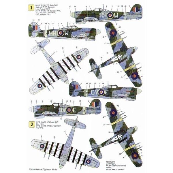 Decals Hawker Typhoon Mk.Ib (3) JP496 HH W 175 Squadron S/L T.P.Davidson 1943 DN473 OV E 179 Squadron DN406 PR F 609 Squadron Ma
