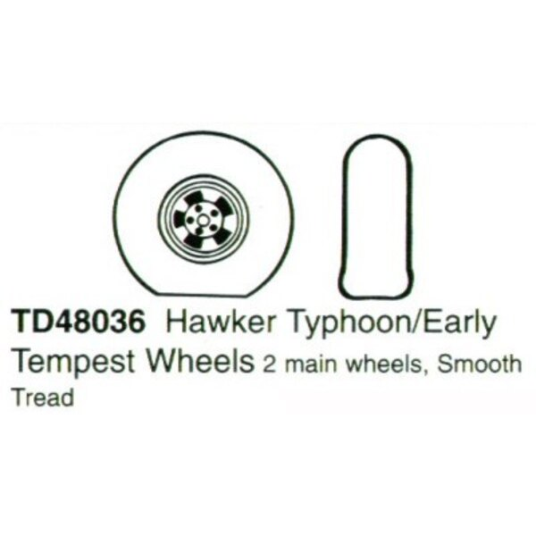 Hawker Typhoon/Hawker Tempest early version. 2 main wheels with smooth tread.