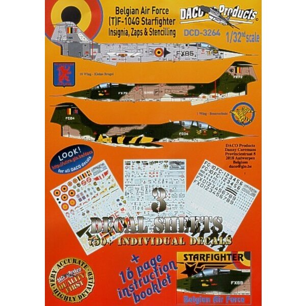 Lockheed F-104/Lockheed TF-104G Starfighter Zappings and Stencilling Belgian Air Force Insignia