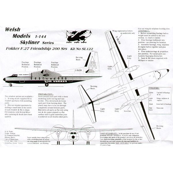 Fokker F-27 Friendship 200 series. Decals Air Anglia