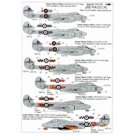 Euro Decals 1//48 GLOSTER METEOR FR.Mk.9 British Jet Fighter