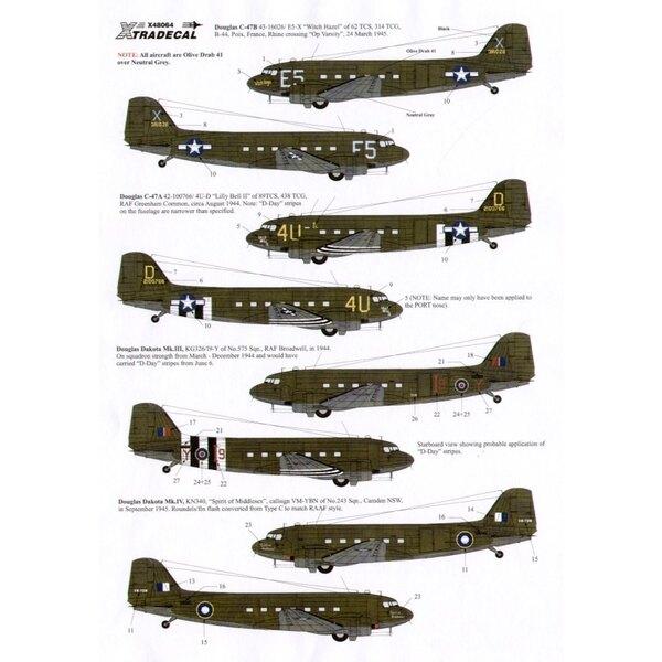 Douglas C-47 Dakota Skytrain/Dakota (4) 43-16026 E5-X 62 TCS `Witch Hazel′ Rhine crossing 3/1945 42-100766 4U-D 89TCS `Lilly Bel