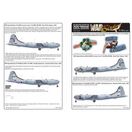 Kits World Decals 1//72 BOEING B-29 SUPERFORTRESS Lucky Leven /& Double Exposure