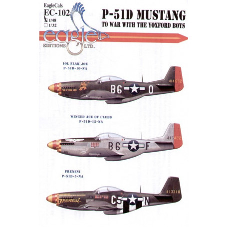 Decals North American P-51D Mustang 357th FG Pt 2 (3) B6-O Lt W.Fricker `Ol Flak Joe′ B6-F Maj Don Bochkay `Winged Ace of Clubs′