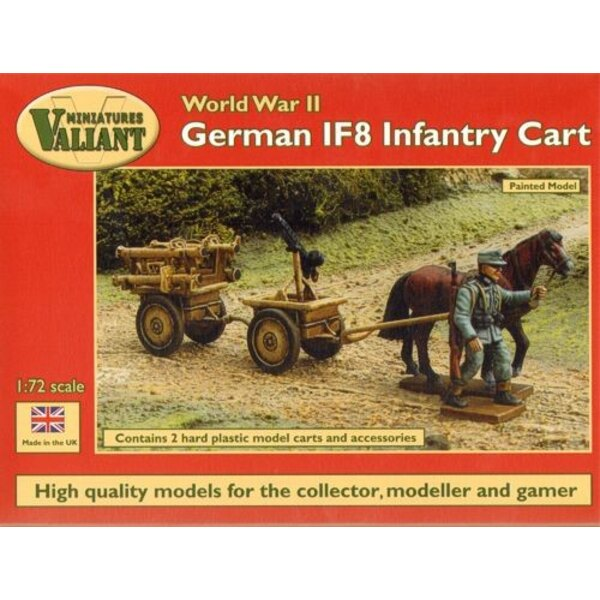 German IF8 Infantry Cart. Includes 2 horses, 2 carts and choice of vehicle attachments, Panzerschrecks and carrying frame, machi