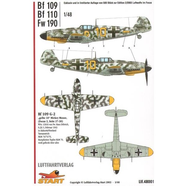 Bf 109, 110 and FW 190
