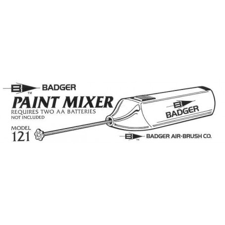 Paint mixer for 1oz, 3oz and 4oz jars requires 2 x batteries which are not supplied