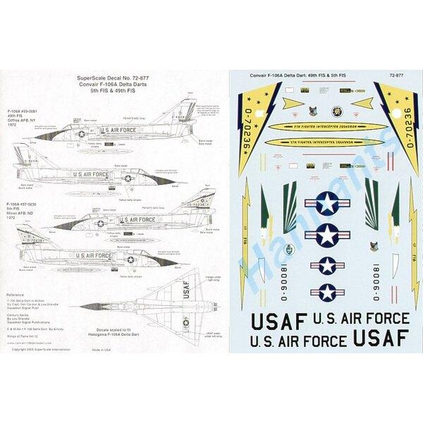Convair F-106A Delta Dart (2) 59-0081 49thFIS Griffiss Air Force Base 1972; 57-0236 5thFIS Minot Air Force Base 1972